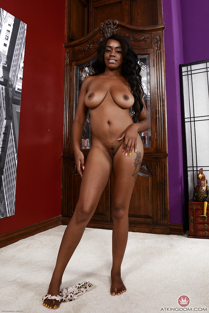 Ebony big boobs solo