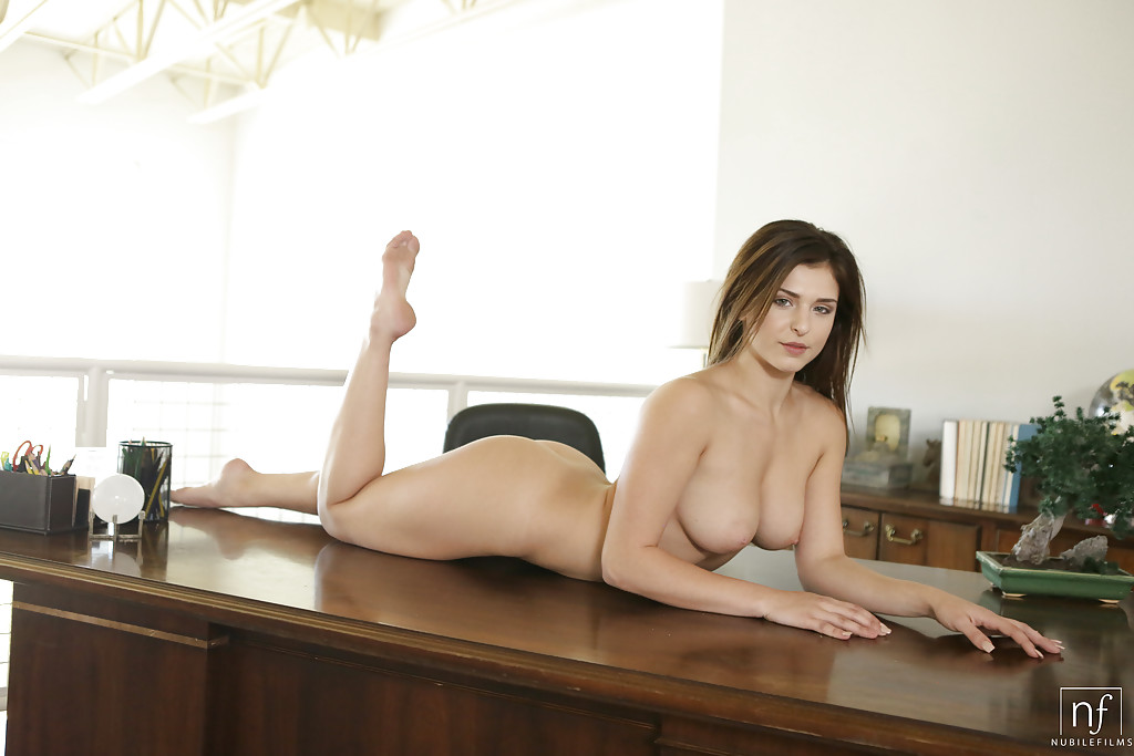 naked office table - ... Teen solo girl Leah Gotti doffing bikini to pose in the nude on office  desk ...