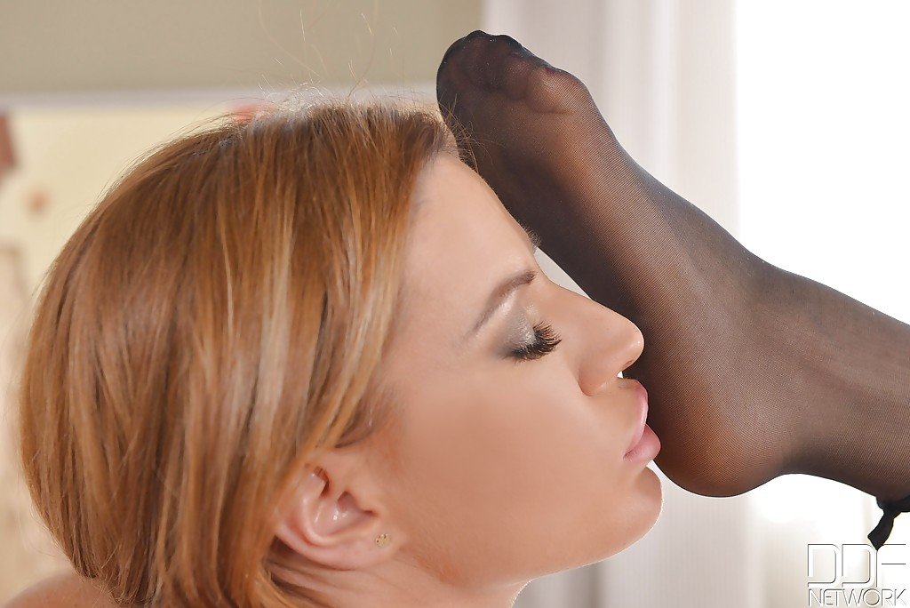 Hot European chicks Alana Moon and Athina having lesbian sex wearing nylons