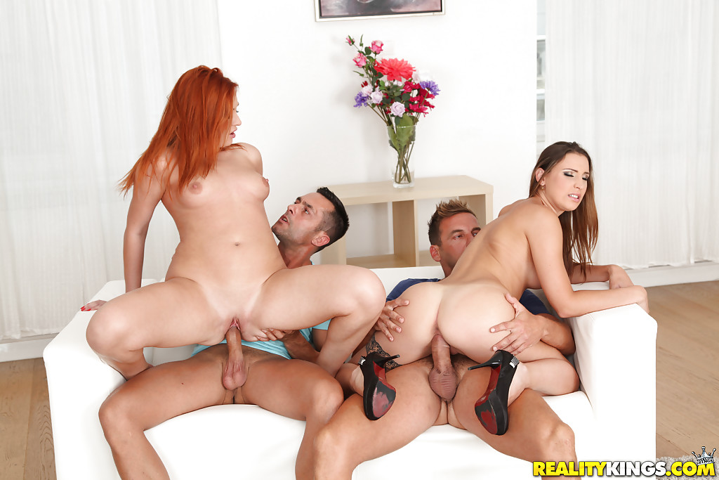 ... European swingers Eva Berger and Lulu Love having wild foursome sex ...