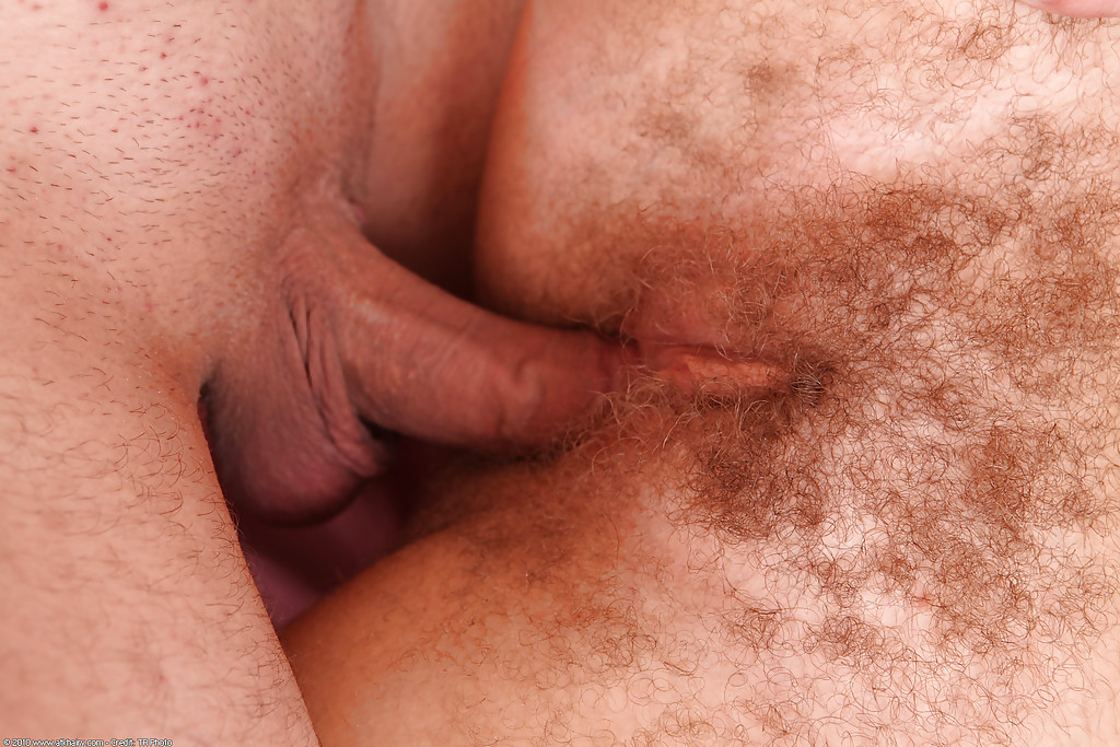 Hairy first timer Kelly sporting jism on beaver after intercourse on bed