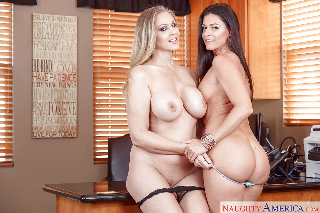 India Summer and Julia Ann posing nude in a slutty lesbian oral play