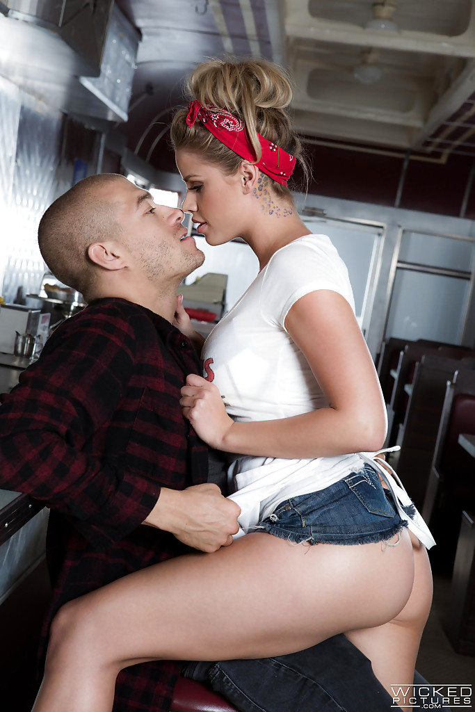 Busty pornstar Jessa Rhodes fucking a large cock at the local diner