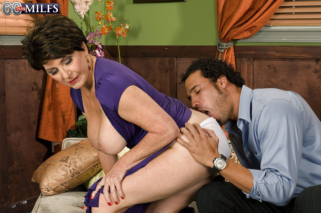 Busty granny Bea Cummins seduces younger man that so happens to have huge dick