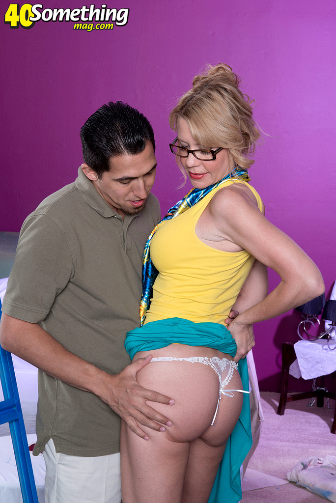 Glasses wearing cougar Desiree Dalton giving it up to Latino with a big cock