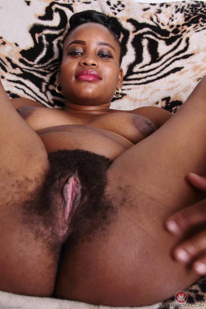 African amateur amber spreads her hairy pussy in hopes