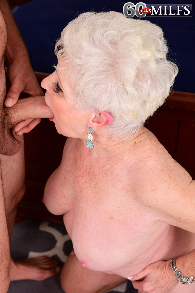 chubby granny goes really mad with desire and sucks a big