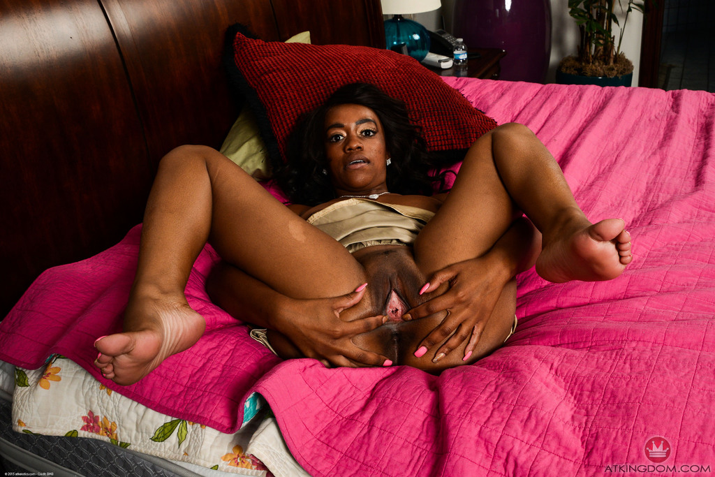 Black first timer Amber Cream strips and reveals the inside of her pink pussy