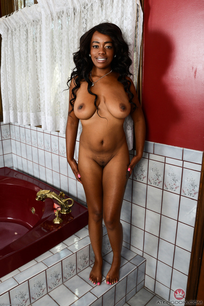 Black amateur Amber Cream flaunts her natural tits before showing pink twat
