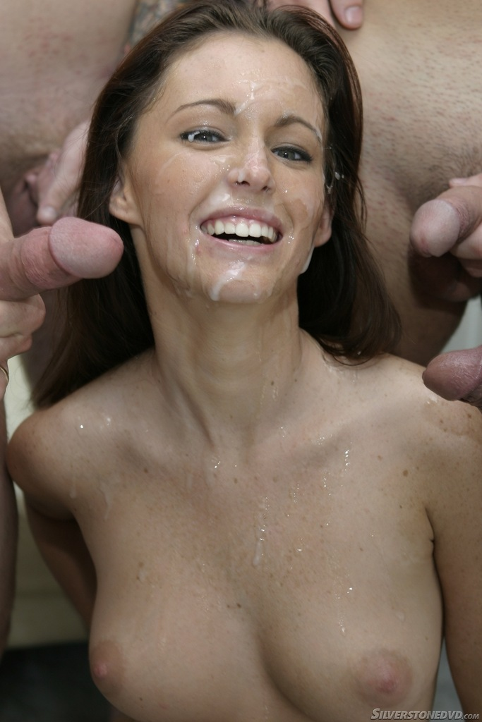 Busty brunette Jenna Presley satisfies a couple of cocks at the same time