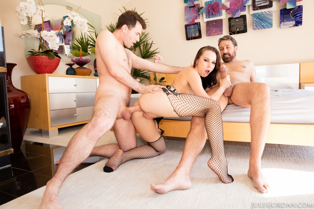 Hot pornstar Aidra Fox fucks 2 men at once in sexy lingerie and mesh stockings