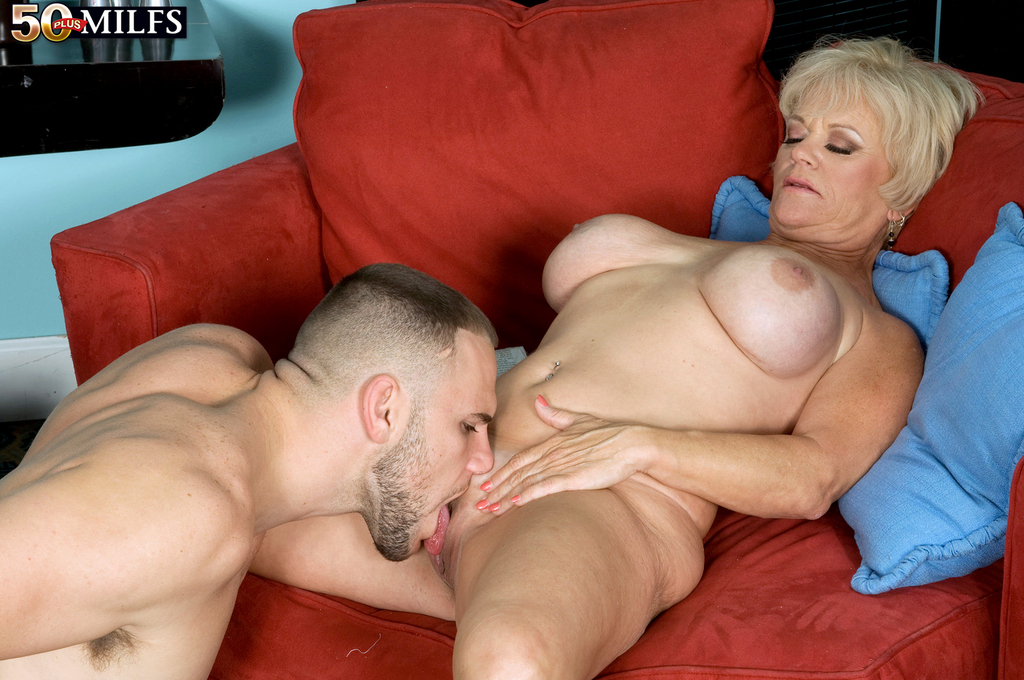Busty aged lady Destiny Anne welcomes her boy toy for fuck session in lingerie