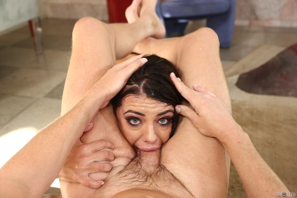 ... Brunette chick Adriana Chechik spits out cum from her mouth after a  face fuck ...