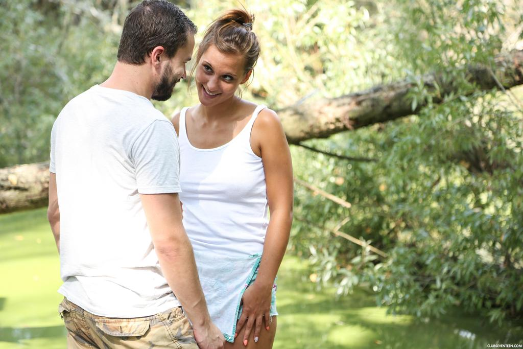 Busty teen girl Naomi Bennet gets stripped and fucked on swampy ground