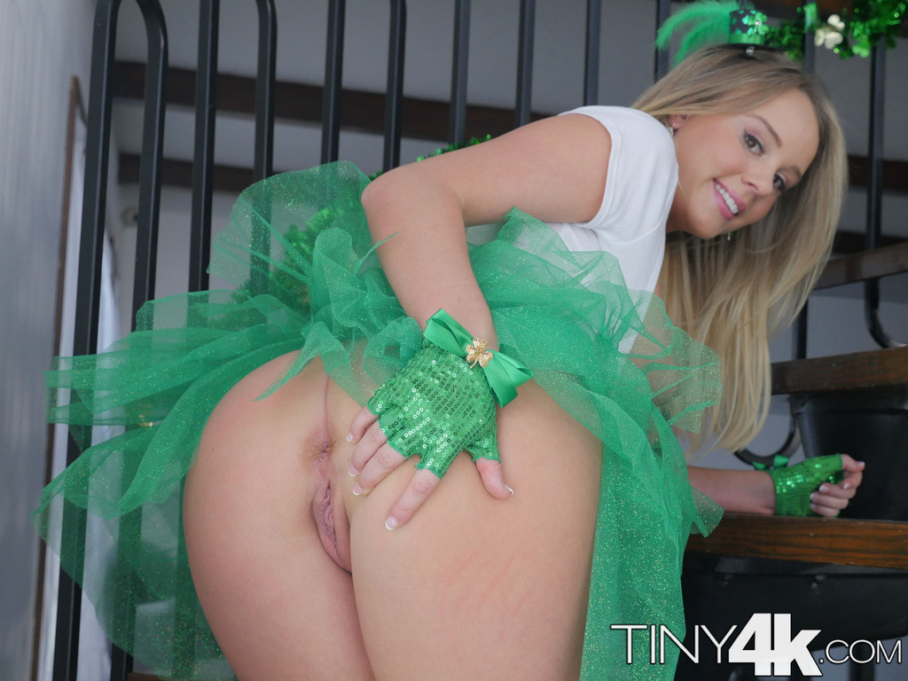 Cute blonde girl Alexis Adams removes her St Patrick's day ...