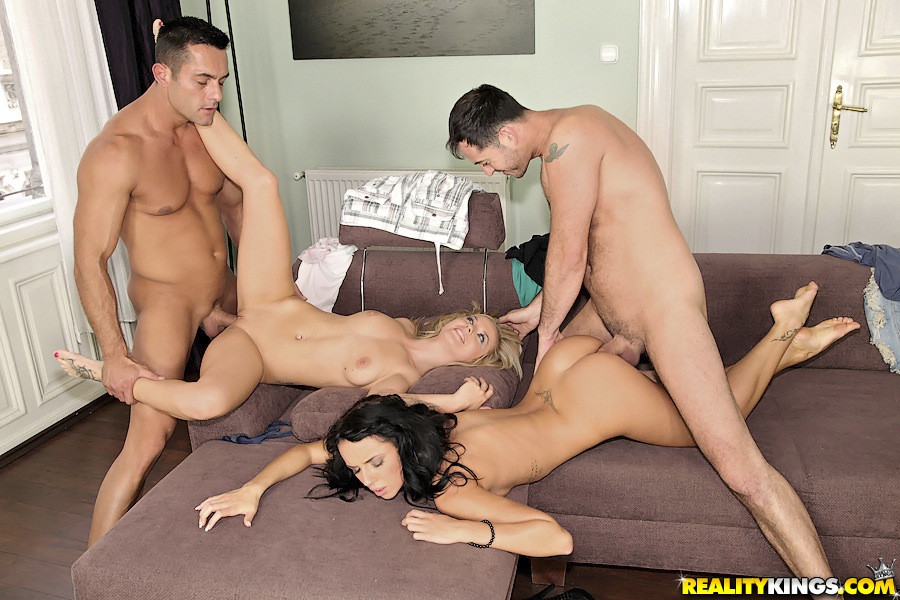 Bella Baby and Gina Devine share a kiss as well as their men in a foursome
