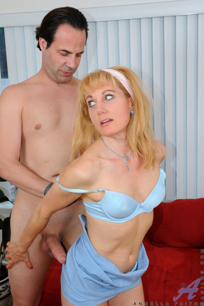 Mature blonde lady Angella Faith sucks and fucks her hubby after he gets home