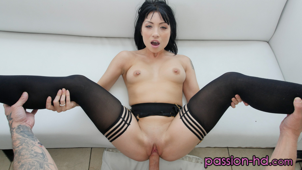 Asian female Rina Ellis gets fucked hard attired in sexy stockings