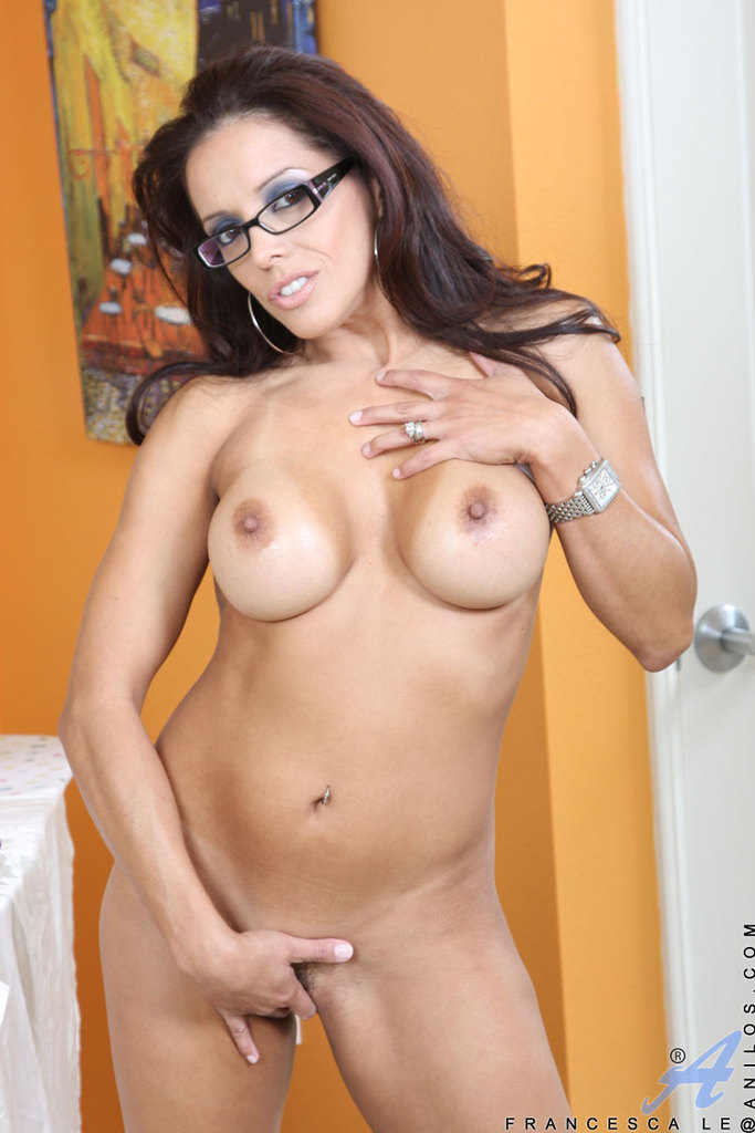 Excited mature latina glasses