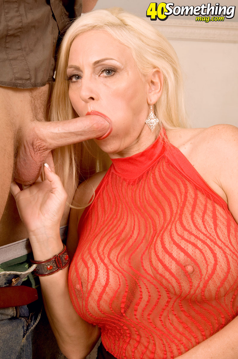 ... Hugely busty mature MILF in sheer red shirt sucks young cock & rides on  ...
