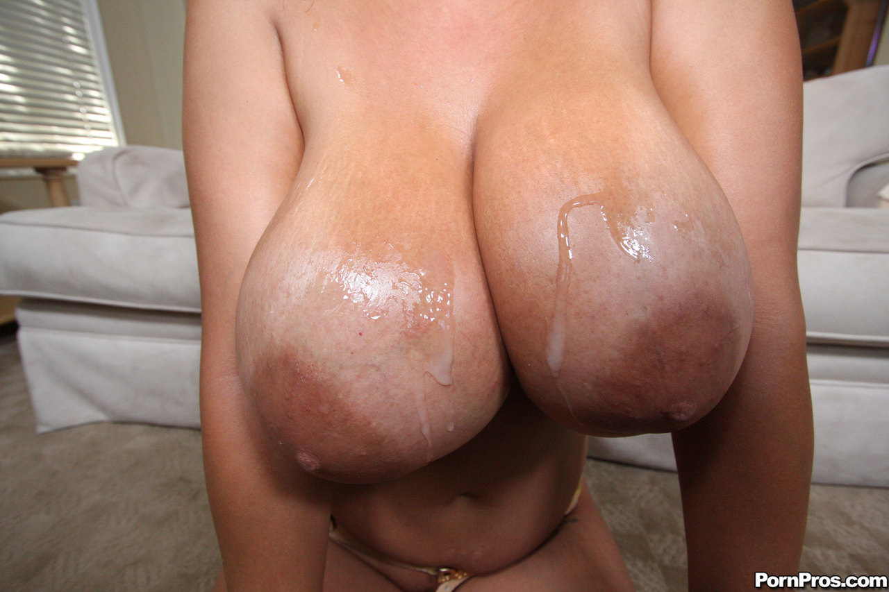 Hugely busty Jaylene Rio gets her enormous big boobs covered in dripping cum