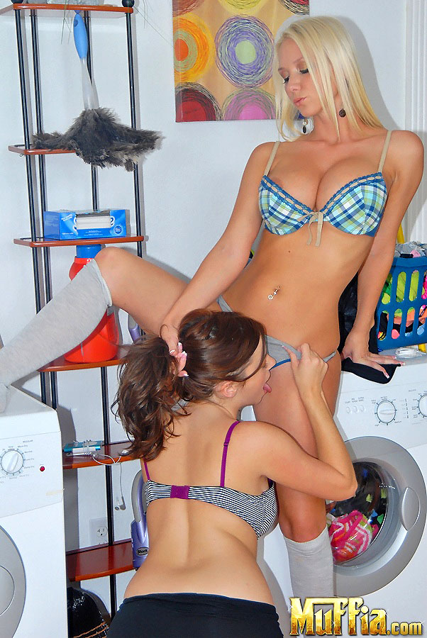 Lesbian girls in the laundry room