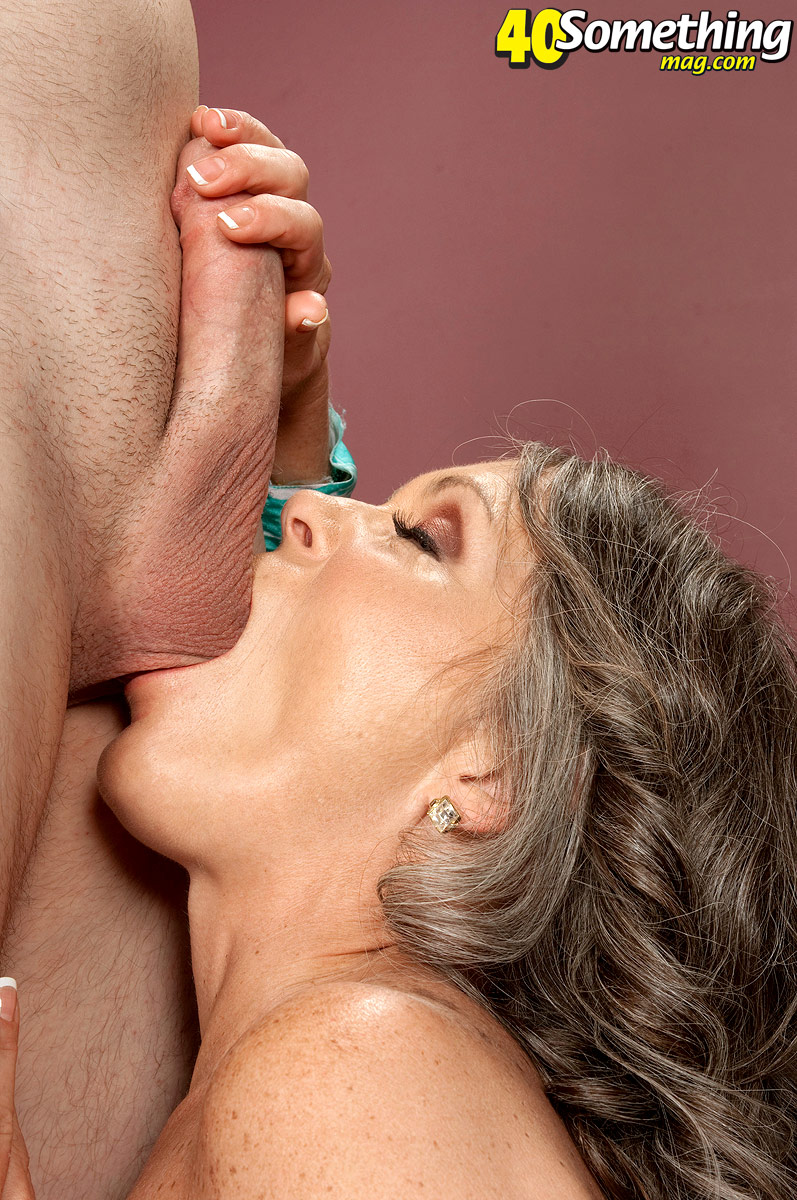 Over 40 lady takes the ball sac in her mouth while giving a BJ before fucking