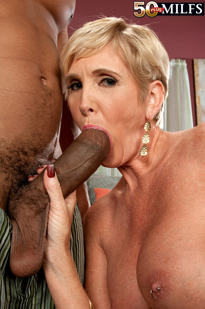 Hot older blonde with short hair rides a BBC after a ball ...