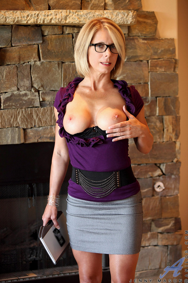 mature mom jenny mason in glasses and heels flashing hot panty