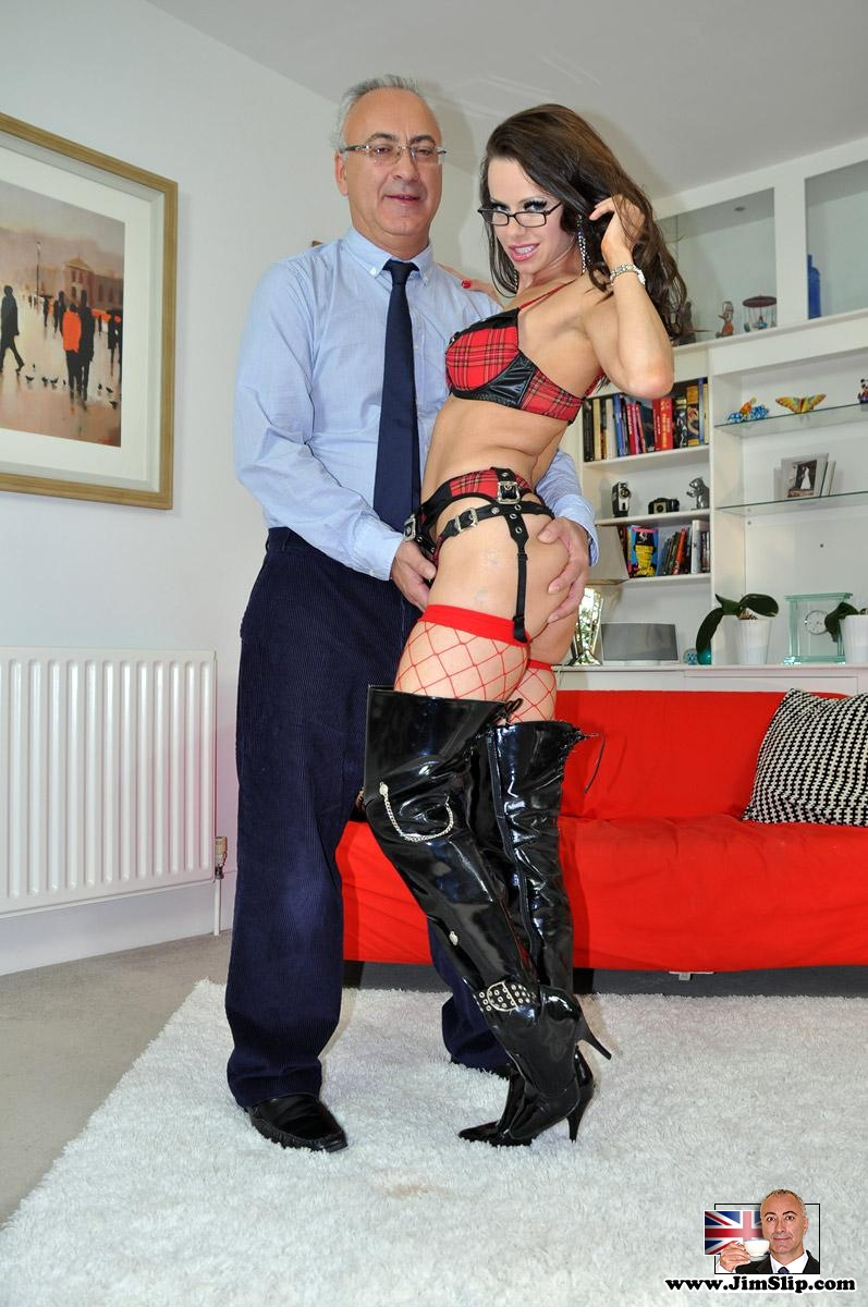 ... Nerdy girl turns into a sex freak at a chance to fuck a dirty old man  ...