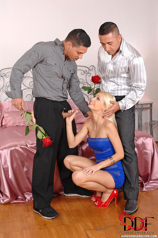 naked party mmf - ... Blonde Euro chick Erica Fontes giving big cock blowjobs in MMF threesome  ...