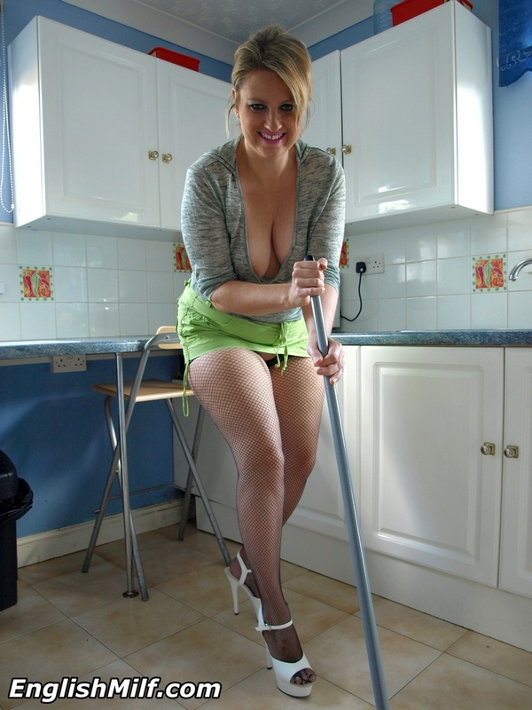 Topless big tit milf cleaning floor