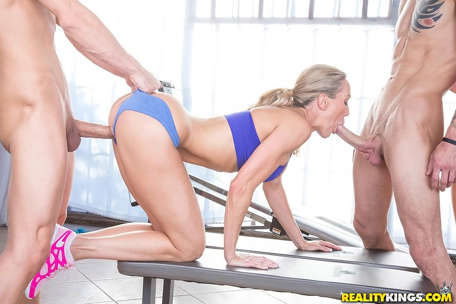 ... Fit blondes end workout session for a foursome fuck with hung guys ...