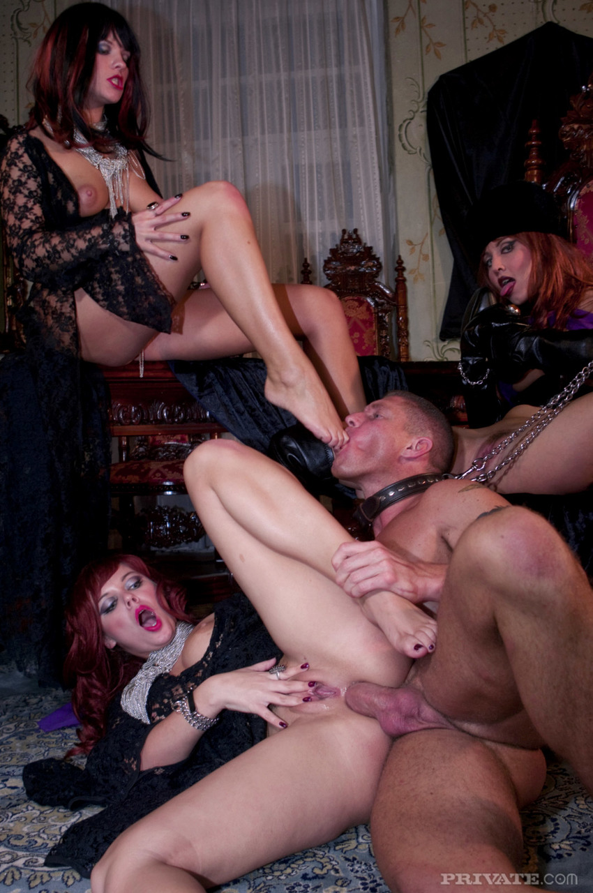 ... Three goth goddesses enjoy anal fucking from male slave in kinky  groupsex ...