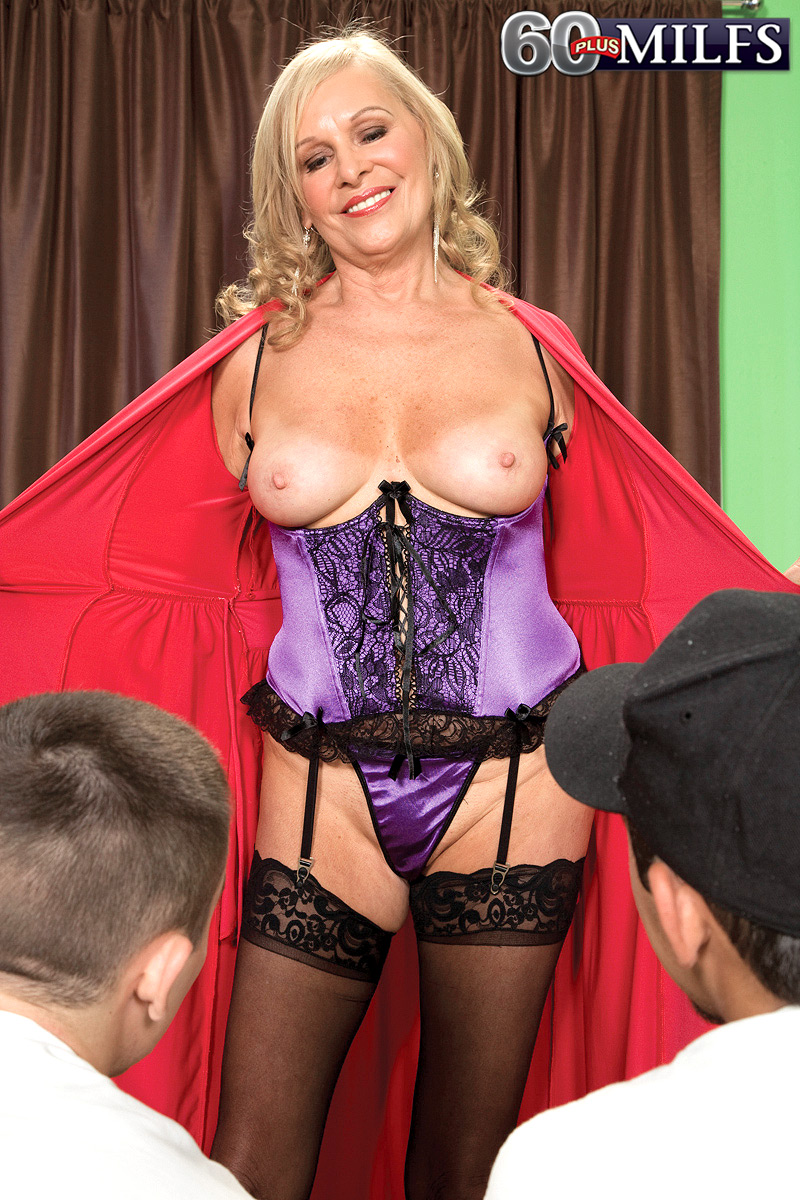 ... Hot granny Bethany James seduces and bangs 2 boys in sexy lingerie and  nylons ...