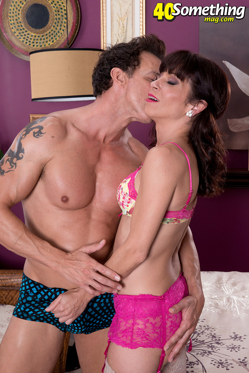 40 Something Cowgirls Porn beautiful mature sage quest removes pink lace lingerie to