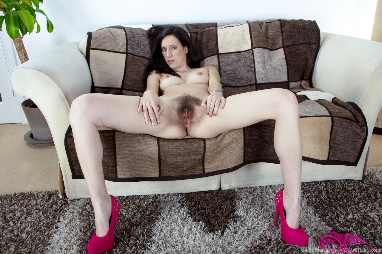 Thin brunette model Sadie Matthews puts her hairy bush on display