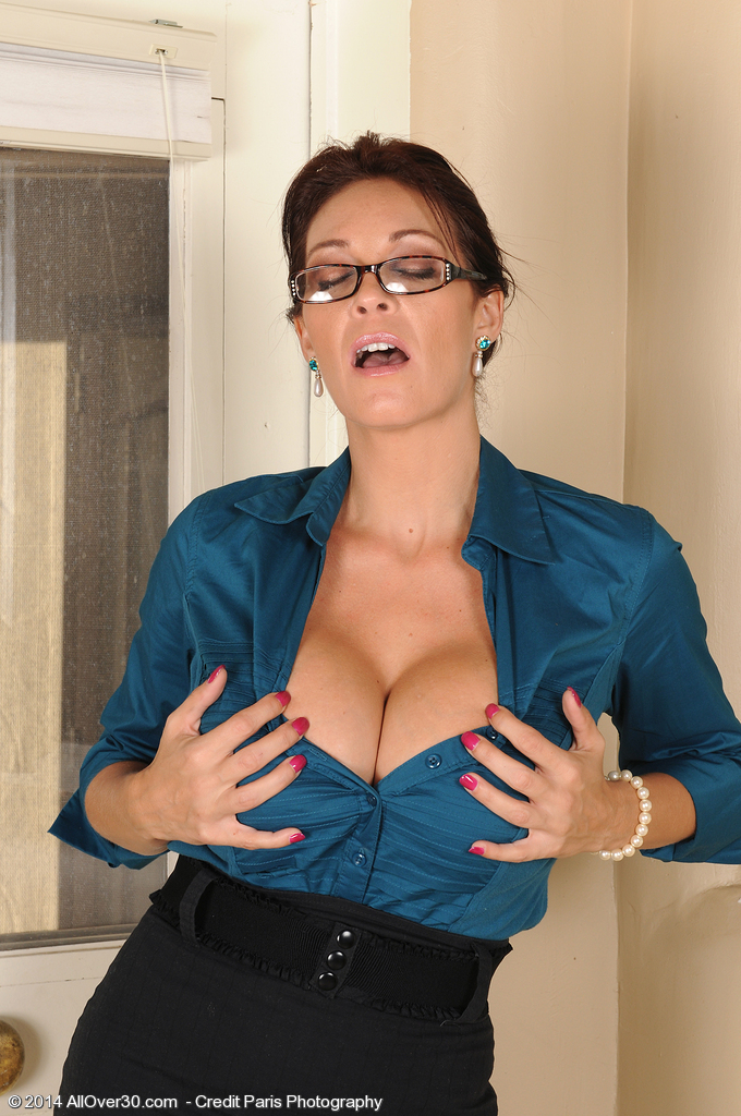 Hot brunette milf with glasses