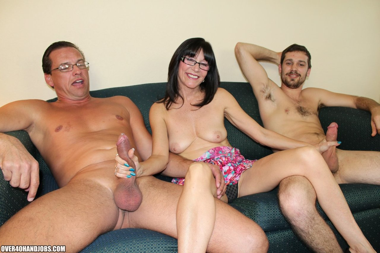 Incest family threesome, cool mother teaches his young daughter how to do handjob