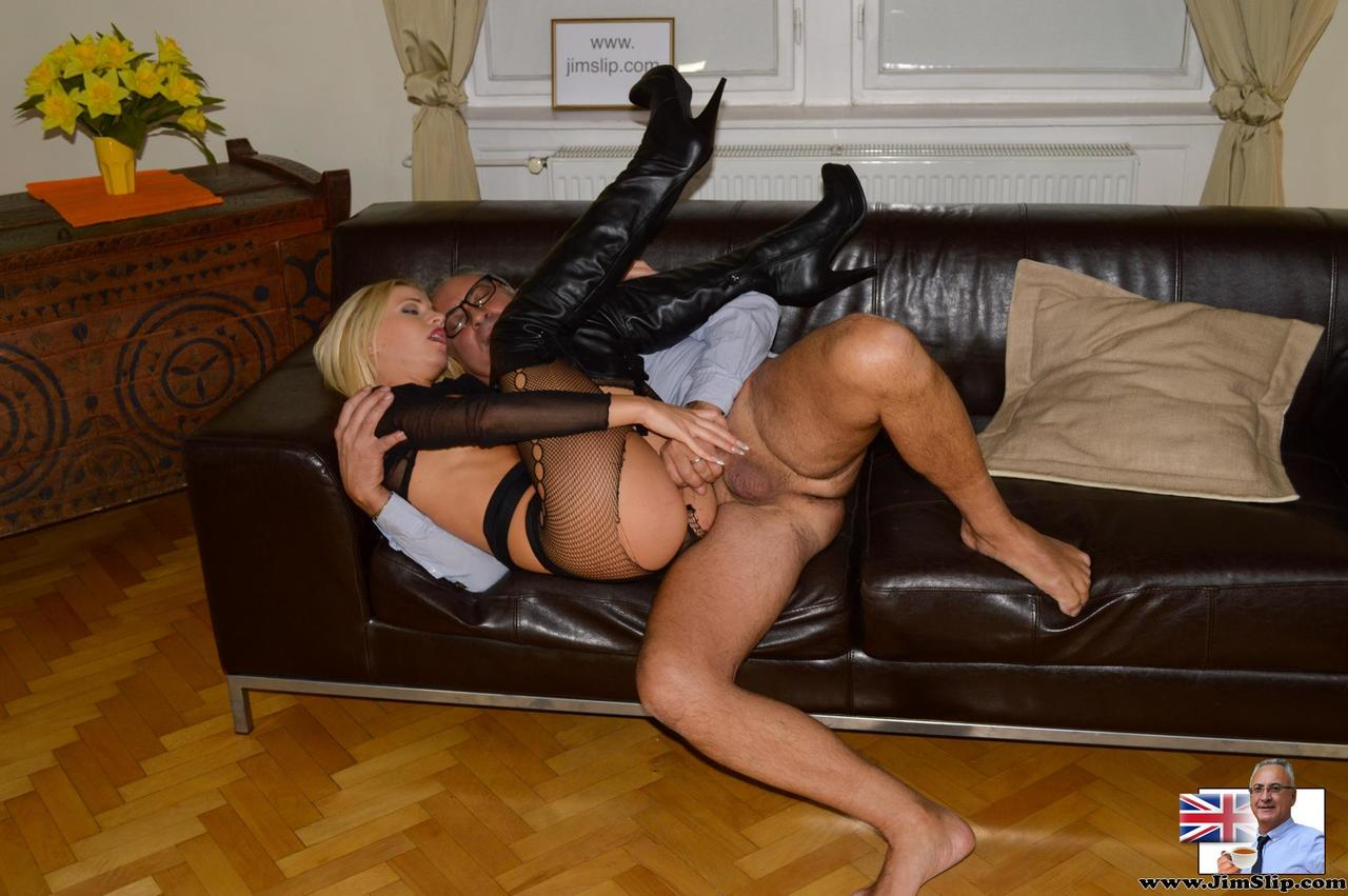 Busty Blonde Milf In Black Boots Likes Getting Two Hard Cocks
