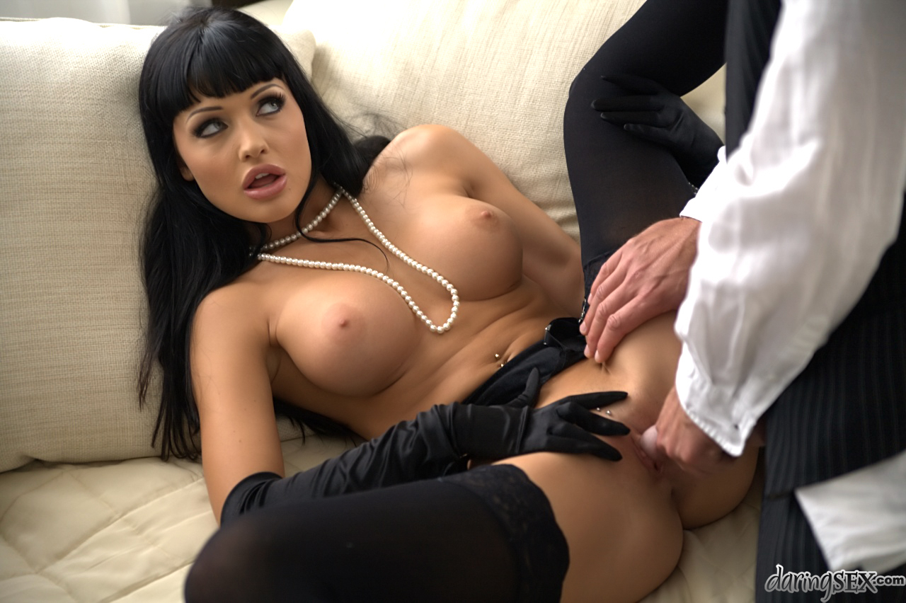 huge tits indian gloves sex - ... Dark haired stocking and long glove adorned pornstar flaunting large  tits ...