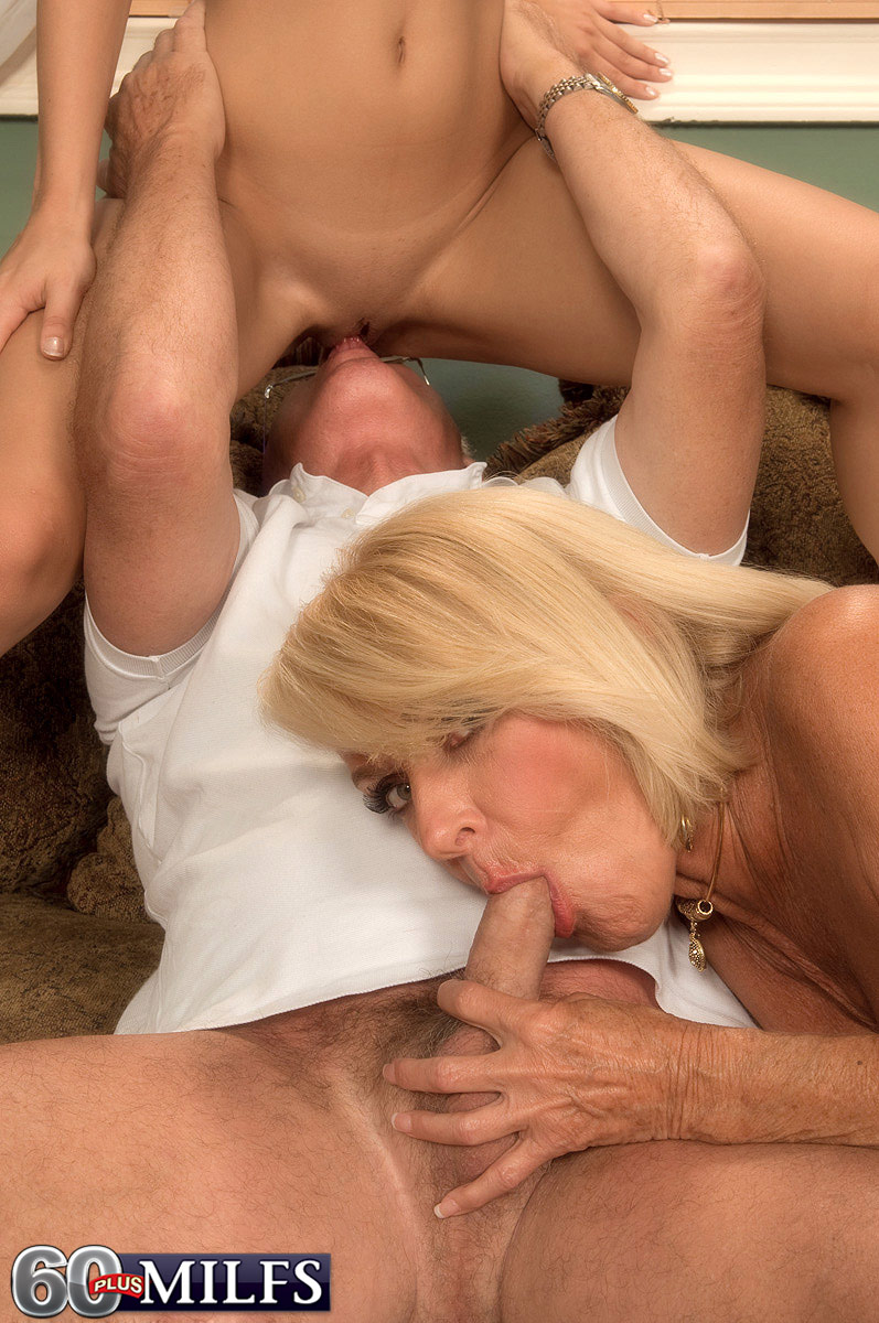 Cock riding mature threesome excellent