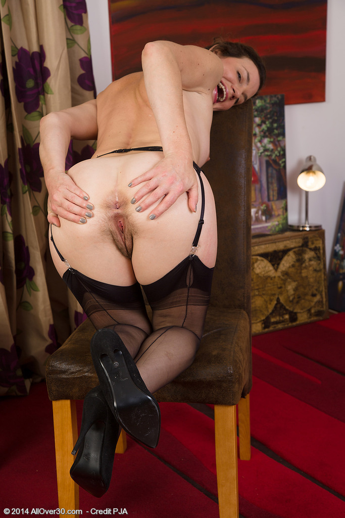 prim looking older wife strips hot lingerie to spread
