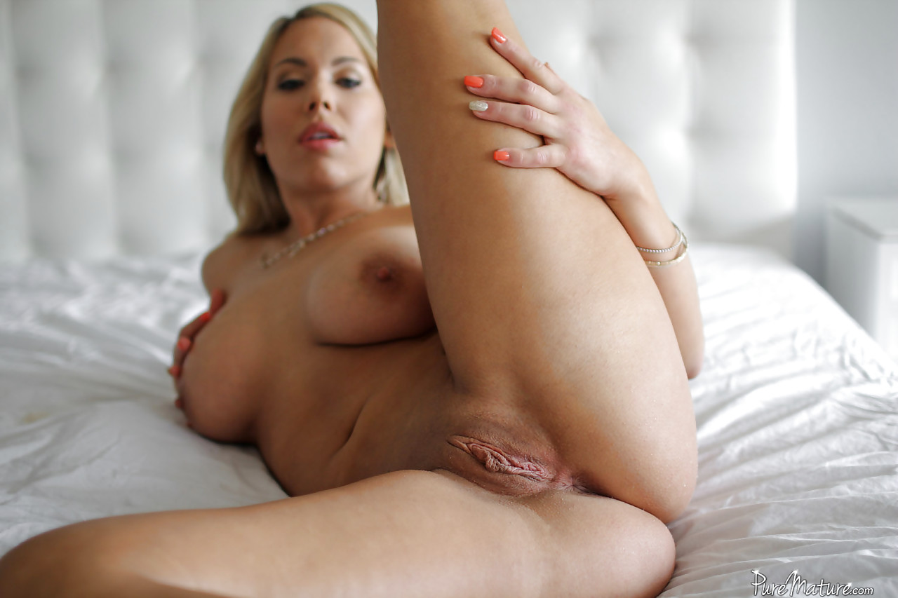Busty blonde MILF parting pink pussy for big cock ...