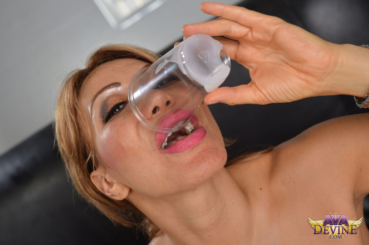 Ava Devine Cumshot older asian woman ava devine drinks cum from a glass after