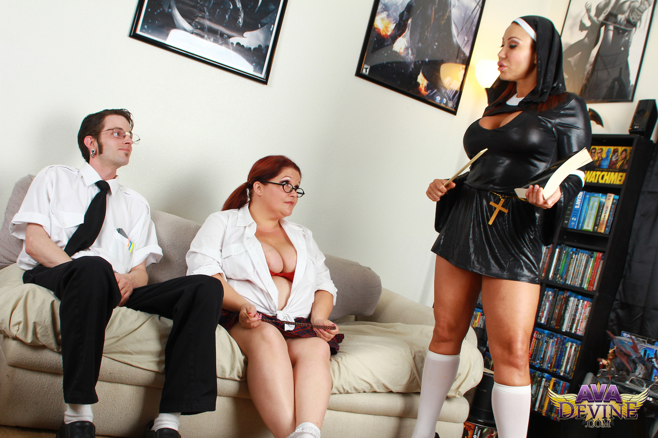 Mature nun Ava Devine and fat schoolgirl with red hair share a cock