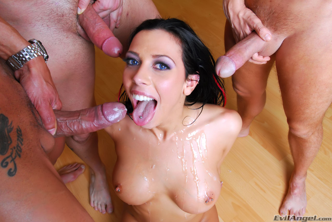 Rachel Starr getting covered by group of big cocks - Slyron