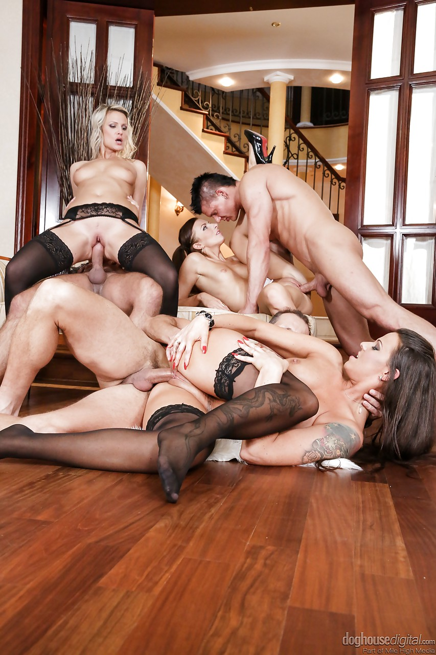 anal porn stockings - ... Sexy women in stockings and heels enjoy anal fucking & dp in groupsex  ...