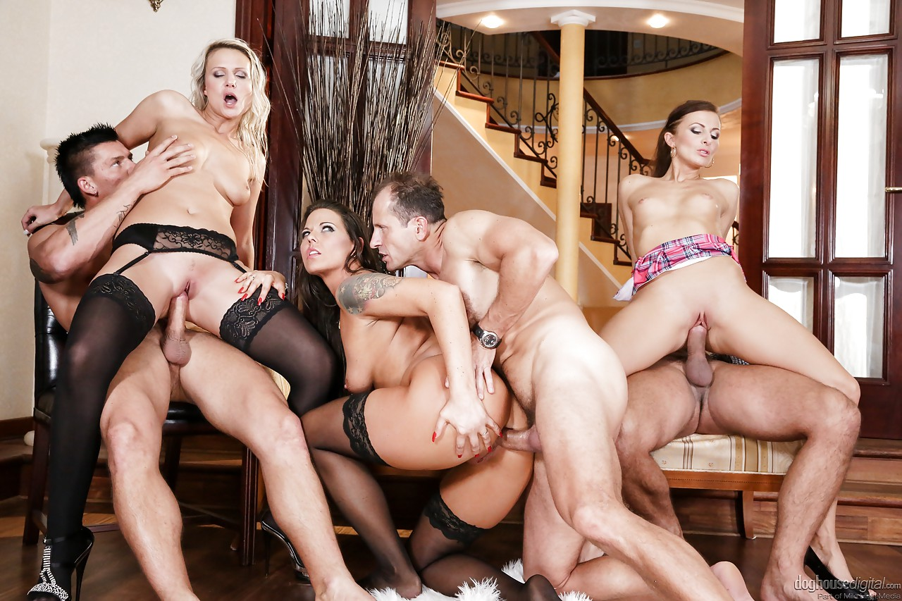 Orgy and ass and high heels