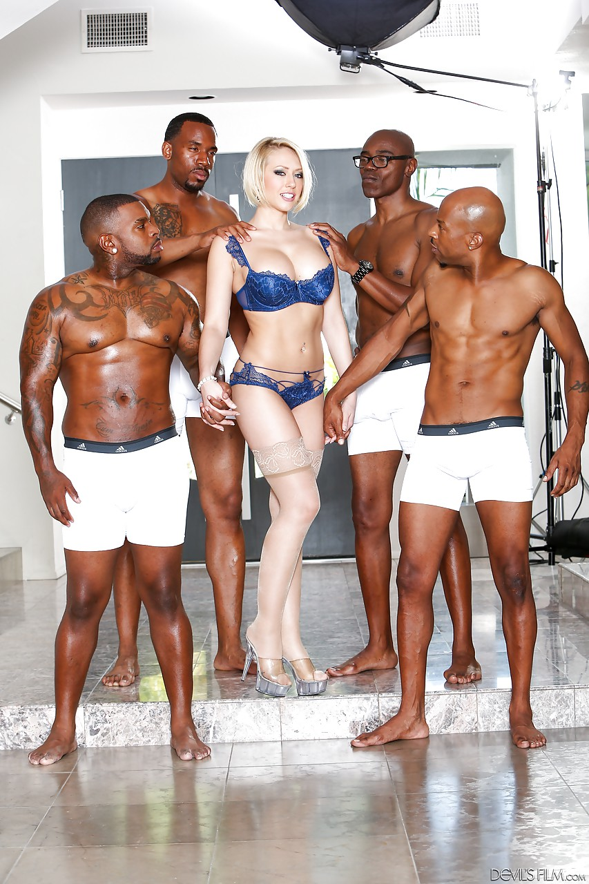 Interractial blond gangbang